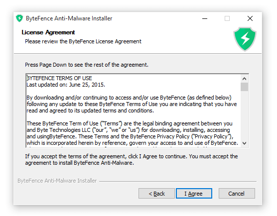 ByteFence Anti-Malaware installer license screen