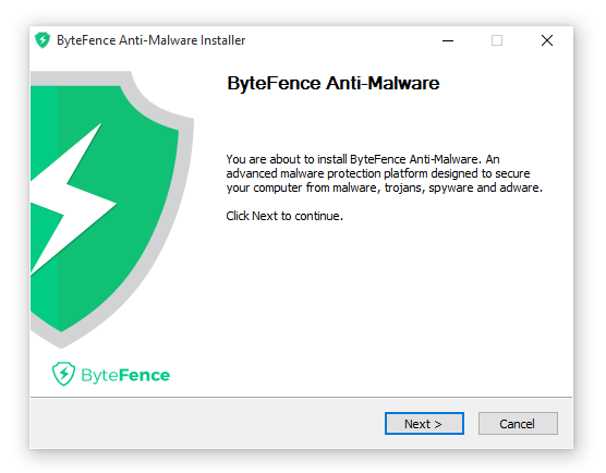 ByteFence Anti-Malaware installer setup welcome screen