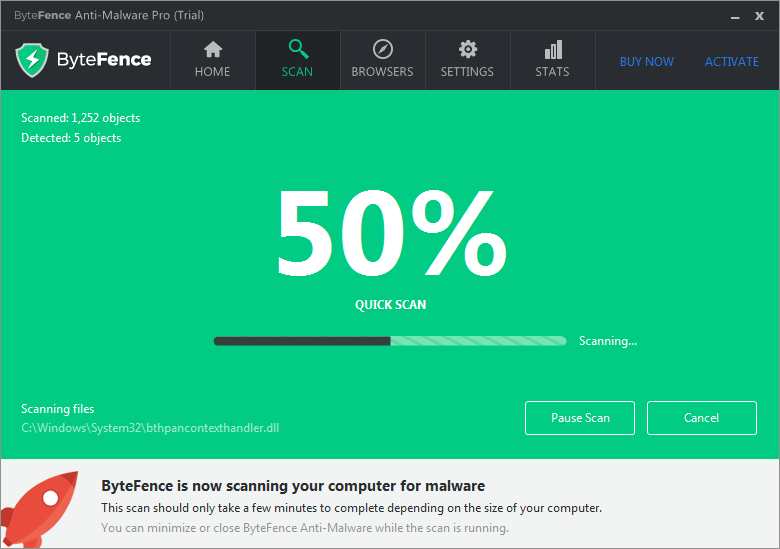 ByteFence Anti-Malaware scanning for fastbrowsersearch.com